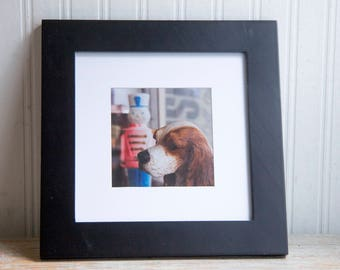 Surreal Photography, Framed Art Print, Puppy Dog in The Window Photo, Cocker Spaniel