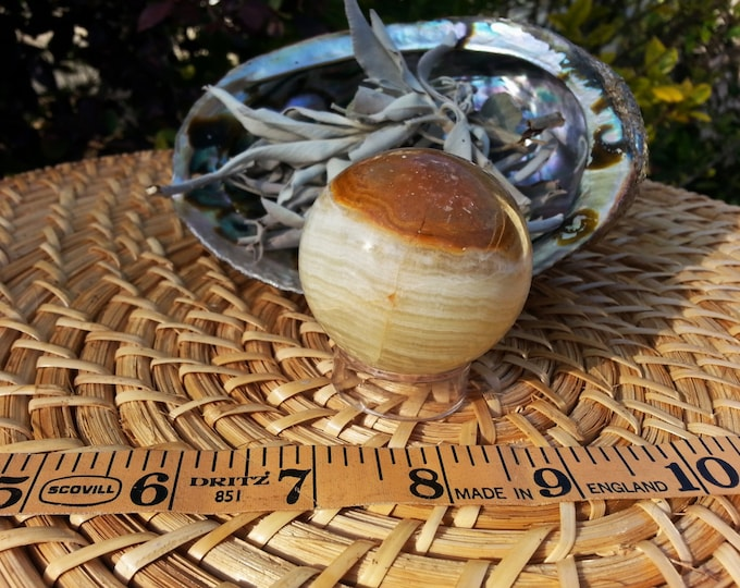 Pakistani Onyx Sphere ~ One Reiki Infused gemstone sphere with stand approx 2 inches (030)