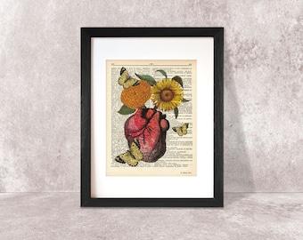 Anatomical heart print-human heart dictionary print-heart-Anatomy print-heart on book page-heart wall art-heart poster-by NATURA PICTA-DP009