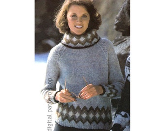 Knit Sweater Pattern, Raglan Turtleneck Sweater Knitting Pattern, Womens Pullover Patterned Jumper PDF Instant Download - K104