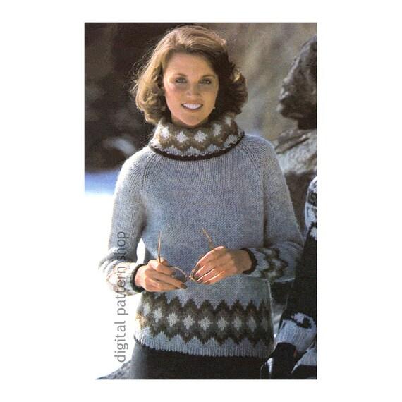 Knit Sweater Pattern Raglan Turtleneck Sweater Knitting