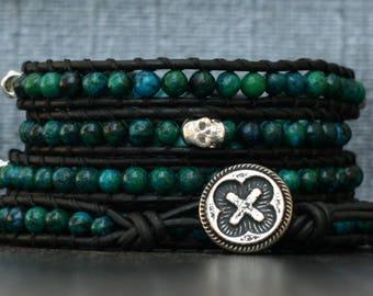 skull wrap bracelet- silver skulls and chrysocolla on black leather - beaded leather - turquoise green - for men or women