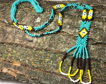 Plains Native American Seed Bead Beaded Necklace - 1980's
