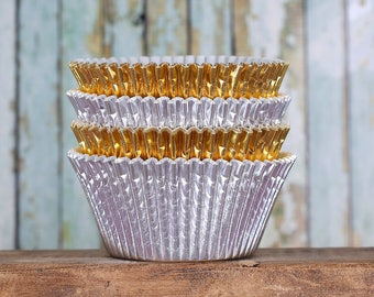 Jumbo Silver & Gold Foil Cupcake Liners, Christmas Cupcake Liners, Texas Size Baking Cups, Jumbo Foil Muffin Cups, Jumbo Cupcake Wrappers