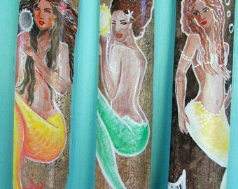 Set of 3 Hand Painted Caribbean Fantasy Mermaid wall decor- bathroom decor - african mermaids