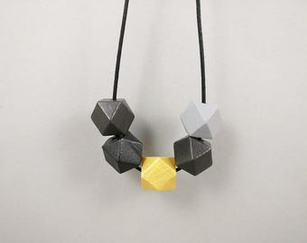 Geometric Necklace - Grey, Gold & Black | Statement Necklace | Gift for her | Geometric Jewellery | Beaded necklace | Minimalist necklace