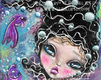 Mixed Media Girl Big Eye Giclee Art Print Signed Reproduction See the Beauty of the Sea by Lizzy Love [IMG#101]