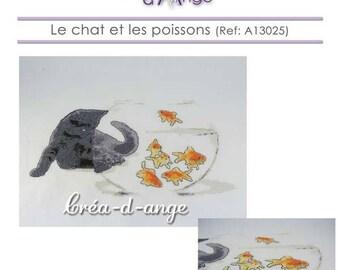 The cat and fish - cross stitch pattern