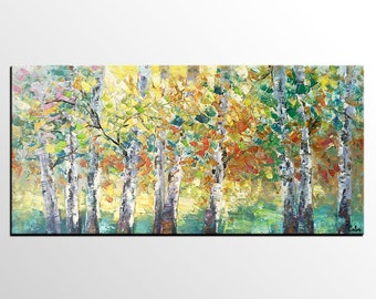 Landscape Oil Painting, Canvas Artwork, Original Wall Art, Modern Art Painting, Autumn Tree Art Painting, Heavy Texture Oil Painting