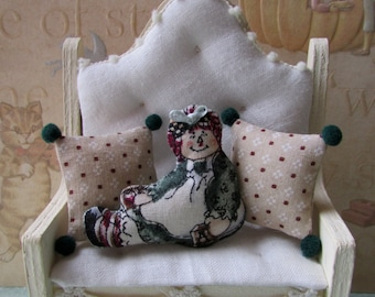 Ooak Dollhouse miniature Raggedy Ann style toss Pillow set
