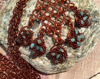 Artisan Copper and Turquroise Pendant Necklace.