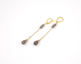 DROPS - Smoky Quartz and Gold filled Long Earrings and Gems Stones