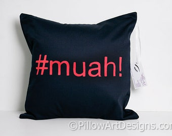 Hashtag Social Media Decoration  #Muah! Pillow Cover Navy Blue and Red 16 X 16 inch Made in Canada