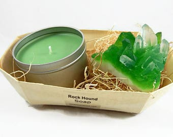 Emerald Crystal Soap & Candle Gift Set