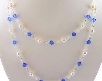 Blue Sapphire Swarovski Crystal Multistrand Necklace, Sapphire Necklace, Blue Swarovski Multistrand Necklace, Blue Multistrand Necklace