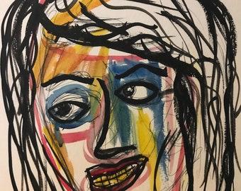 Rainbow Face (pen&watercolor)