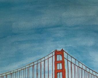 Golden Gate Bridge - San Francisco Watercolor Print