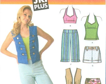 2006 Junior Knit Halter Top, Vest, Pants, Capris and Shorts UC FF Size 5/6, 7/8, 9/10, 11/12, 13/14, 15/16 - Simplicity Sewing Pattern 4200