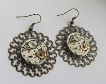 Steampunk Chandelier earrings  with vintage mechanical  watch movements. Steampunk Jewelry Gift for Her under 25 Dollars