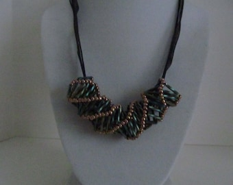 Beaded rope necklace, bugle beaded necklace, green beaded necklace, gold beaded necklace, black ribbon necklace,