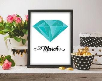 March Birthstone Print, Printable Digital Art, Aquamarine Birthstone Art, Birthday Poster Print, Gifts for her, 8x10, 16x20, 24x30 inches