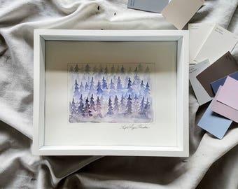 Periwinkle Haze- Original watercolor, Framed artwork, wall art, ready to hang