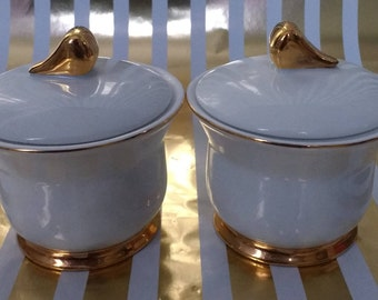 Stunning Finesse White and Gold Condiment Pots in Pristine Condition