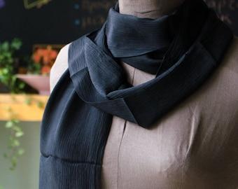 90's Black Scarf - minimalist and modern long semi-sheer scarf