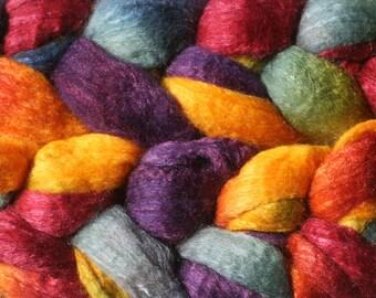 Blueface Leicester Tussah Silk Spinning Fiber - 'Rainforest'