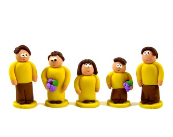 Five Person Meeple Family Set - in your choice of colors! Clay meeples, clay people figurines, board game pieces, custom game tokens, purple