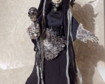 """Witch, Made to order, poseable art doll, horror doll, 14"""""""
