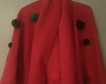 Red Pom Pom poncho, with scraf