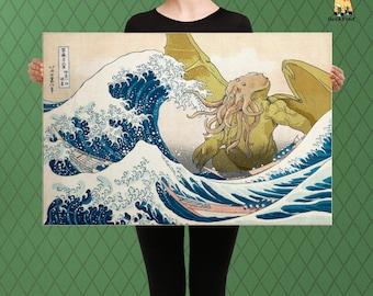 Cthulhu Inspired Parody Art, Cthulhu Rises Towards The Great Wave, Hosukai,  Custom Made to Order Raised Canvas Art Piece