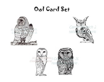 Owl Cards, Owl Card Set, Owl Gift Set, Stationery Set, Blank Stationery, Blank Card Set, Note Cards, Animal Cards, Illustrated Note Card Set