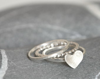 Stacking Rings Set of THREE - Sterling Silver Heart, Full-Beaded ring and a simple band - Made To Order