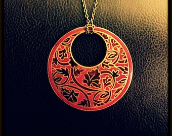 Floral designed Brass Pendant with Chain