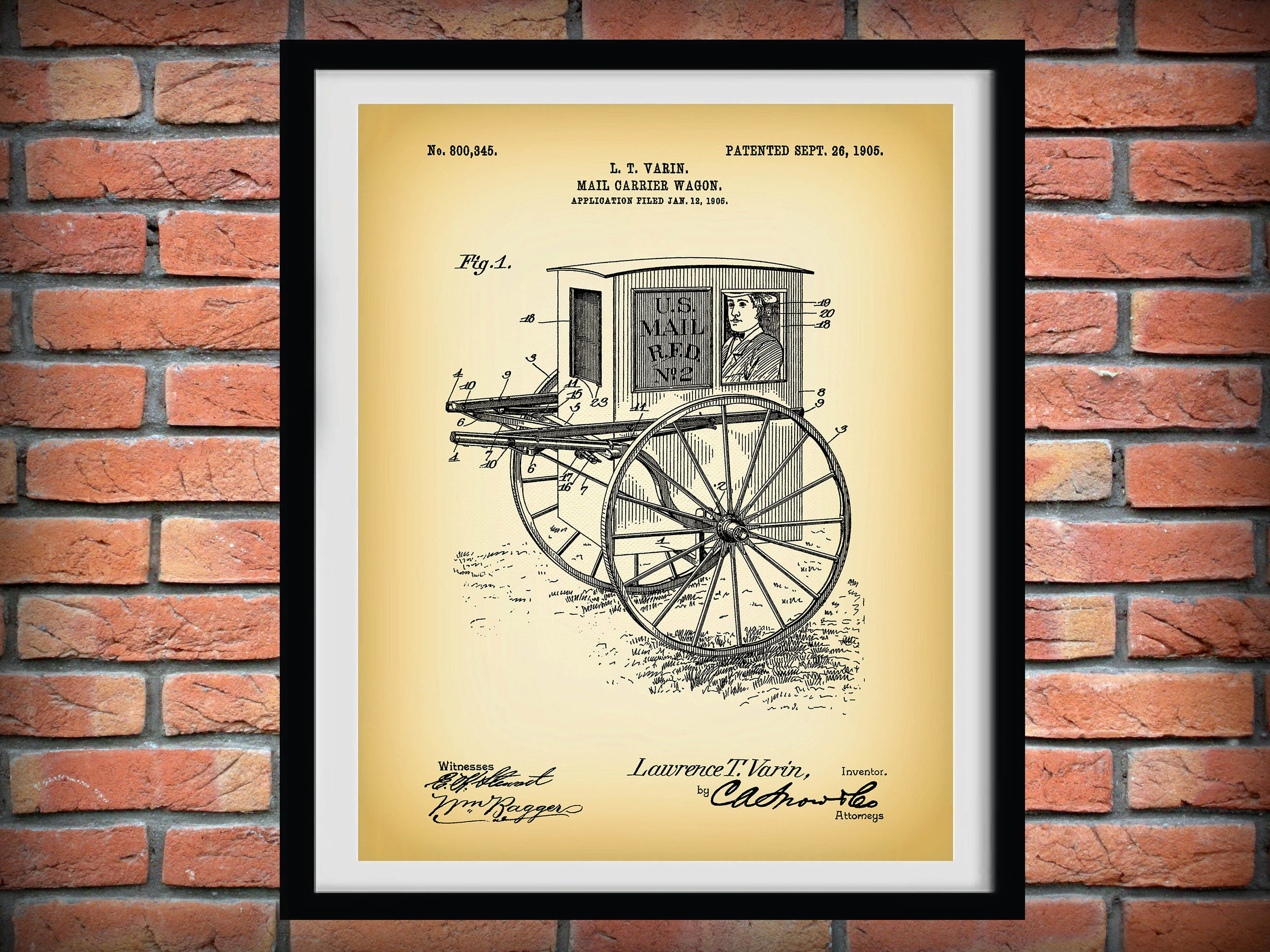 1905 Mail Wagon Patent Print - Art Print Poster - Wall Art - Home ...