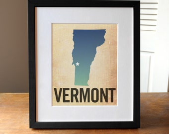 Vermont Print, State Print VT, Vermont Ombre Print, Burlap, Ombre, Vermont Art, Vermont State Print
