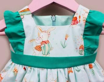 Girl's Bunny Easter Dress, Girl's 1st Birthday Dress, Baby Easter Dress, Whimsical Baby Dress, 100% Designer Cotton Dress, Girl's Dress