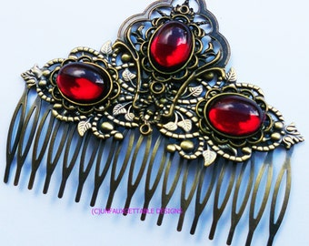 Elaborate Tudor Medieval Gem Haircomb Alternative to tiara wedding larp ren sca
