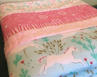 Unicorn themed baby quilt with 3 free matching baby crinkle toys