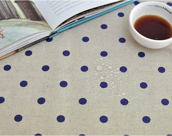 Polka Dots Laminated Cotton Linen Fabric - Navy Dots - By the Yard 100804