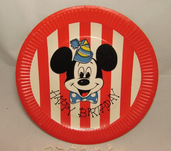 One Vintage Mickey Mouse Happy Birthday Paper Plate 1962 Walt Disney Productions collectible red white stripes from PuppyLuckVintage on Etsy Studio & One Vintage Mickey Mouse Happy Birthday Paper Plate 1962 Walt ...
