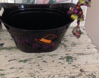 Personalized Halloween candy tub