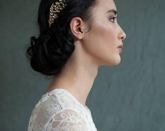Gold Hair comb - Art Nouveau style Gold Hair comb - Wedding Hair Accessory -  Gold Bridal Headpiece - Boho Wedding Hair Comb
