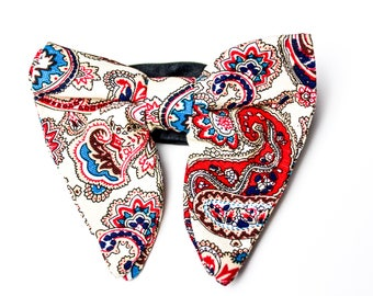 Paisley Cream  Big Bow Tie with Pocket Square