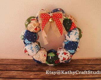 DIY Sewing kit--fabric wreath puff style--christmas home decoration