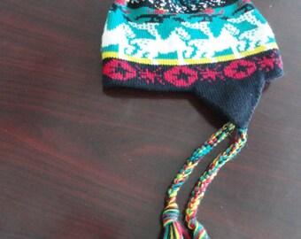 Vintage 1970's Mountain Ladies & Ewe Ski Cap Hat Handmade In Stowe Vermont Poppy Gall Ear Flaps Braids New