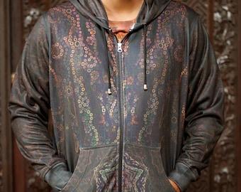 JACKAL Men's Hoodie / Jackal Hoodie, Totem Hoodie, Psychedelic hoodie, Mens tribal hoodie, Sacred medicine hoodie, Festival Hoodie