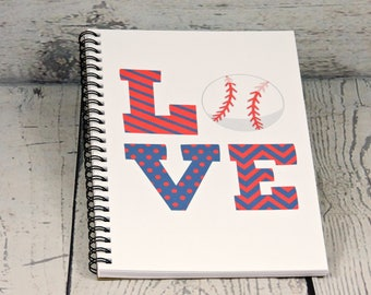 Baseball Journal - Blank Journal, writing journal, spiral journal, spiral note book, Baseball gift, sketchbook, diary, notebook